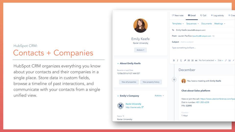 HubSpot FREE CRM -contacts