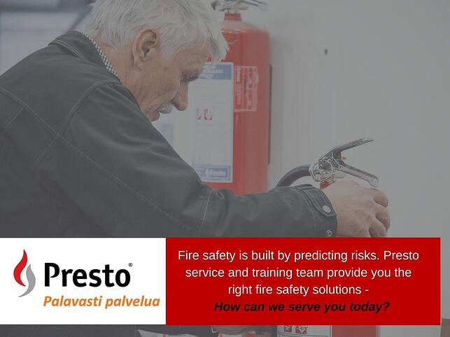 "To customers Presto means today ""Burning desire to serve""."
