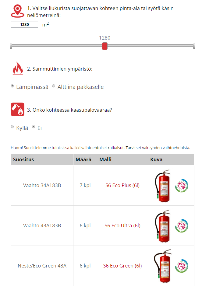 Online calculation tool for selecting optimal number of optimal fire extinguishers.